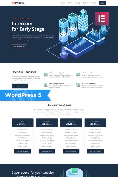 Адаптивный WordPress шаблон №76731 на тему хостинг