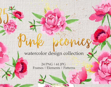 Legendary Pink Peonies Watercolor png Illustration