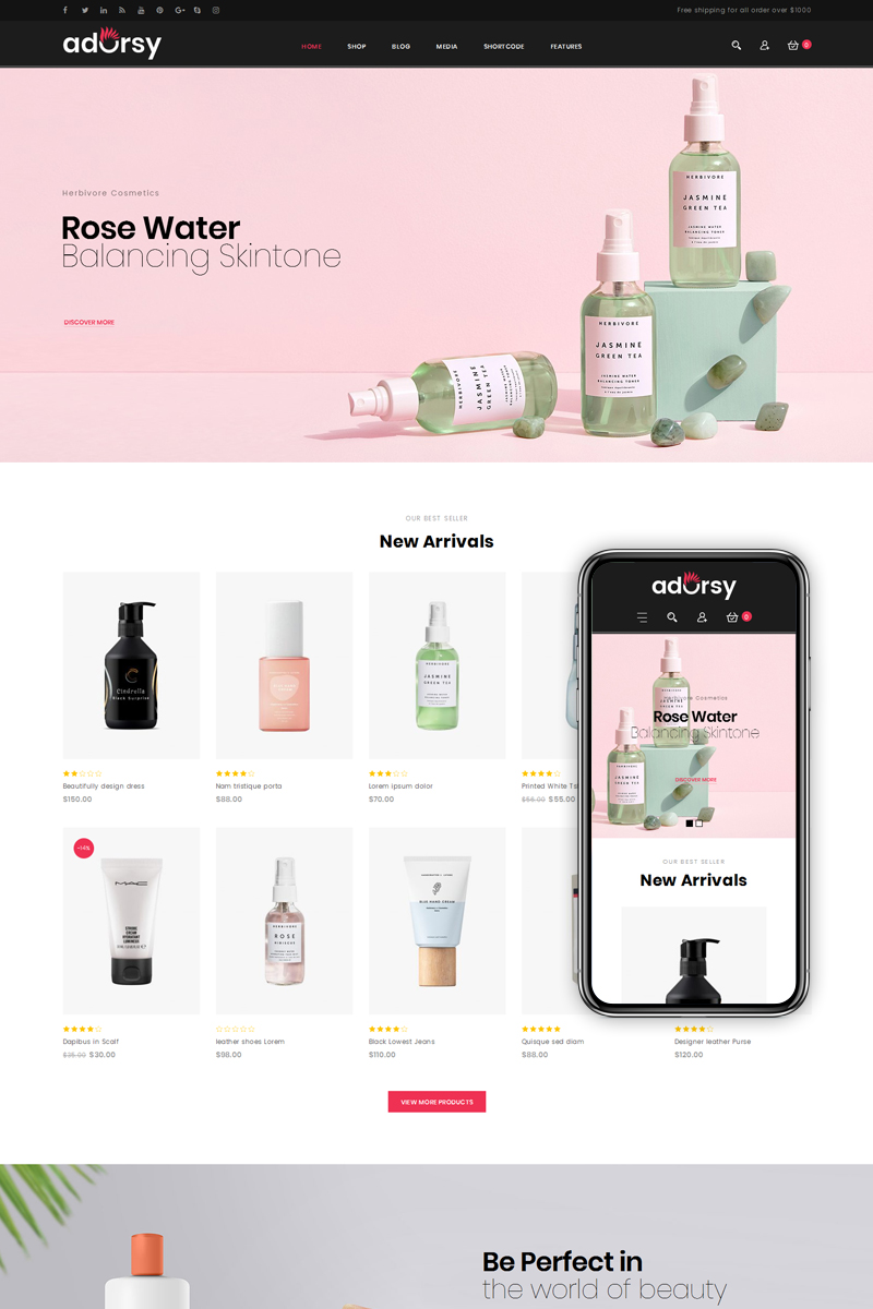 """Adorsy - Fashion Accessories Store"" - адаптивний WooCommerce шаблон №76847 - скріншот"
