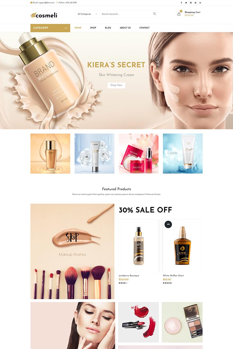 """Cosmeli -  Cosmetics & Beauty"" - адаптивний WooCommerce шаблон №76810 - скріншот"
