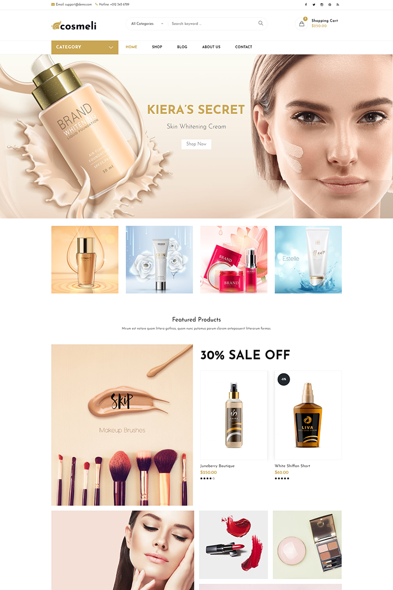 """Cosmeli -  Cosmetics & Beauty"" Responsive WooCommerce Thema №76810"