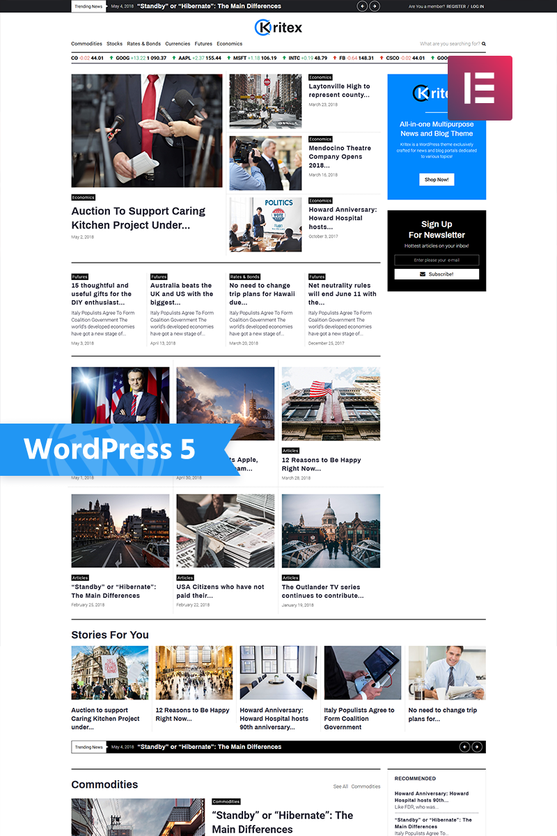 """Kritex - Corporate News Blog Modern Elementor"" - адаптивний WordPress шаблон №76860"