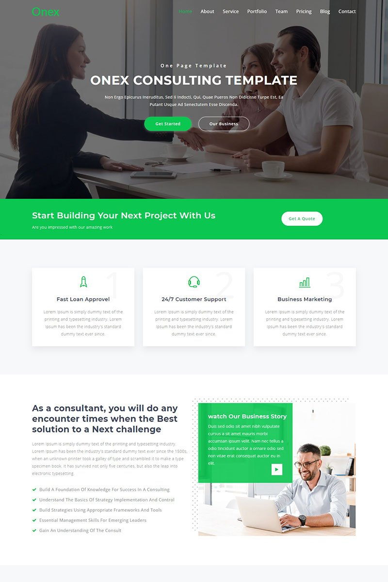 """Landing Page Template namens """"Onex - Consulting & Business"""" #76861"""