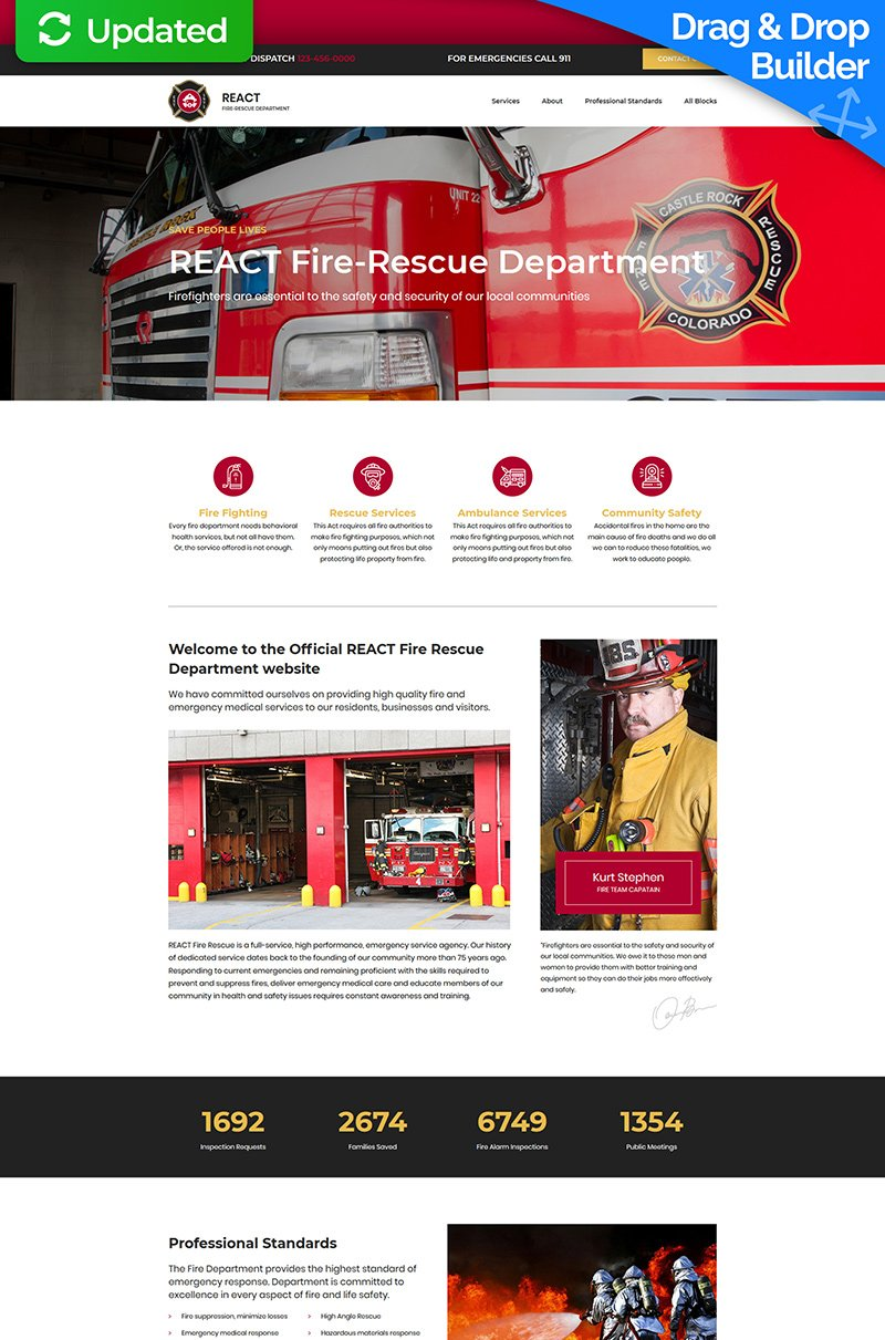 """Landing Page Template namens """"React - Fire Department"""" #76850"""