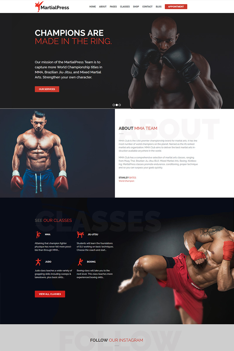 """MartialPress - Martial Arts School and Club"" Responsive WordPress thema №76830"