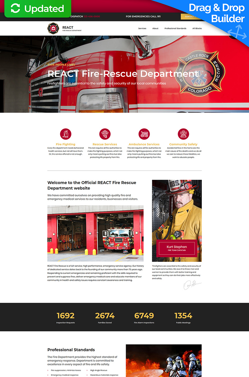 "Modello di Landing Page Responsive #76850 ""React - Fire Department"""