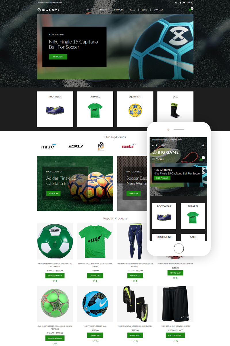 "Modello Shopify Responsive #76829 ""Big Game - Soccer Store Modern"""