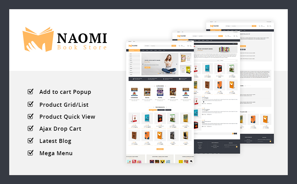 """Naomi - Book Store"" - адаптивний PrestaShop шаблон №76876"