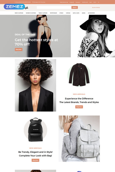 Адаптивный OpenCart шаблон №76803 на тему модный магазин