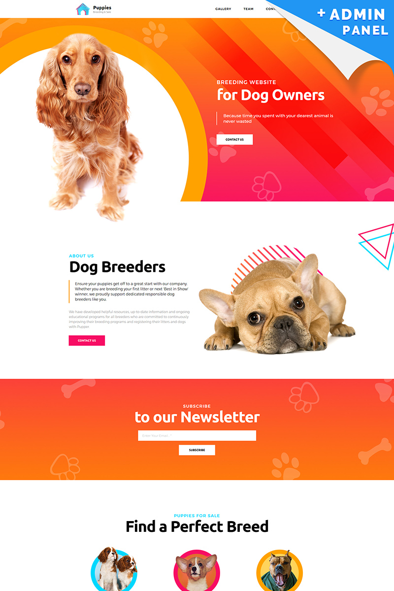 Puppies - Dog Breeder Templates de Landing Page №76821