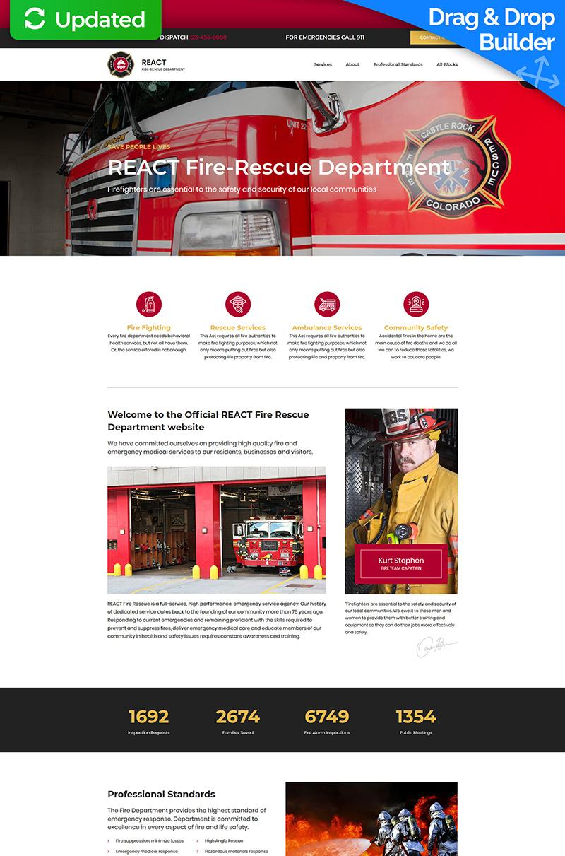 """React - Fire Department"" Responsive Landingspagina Template №76850"