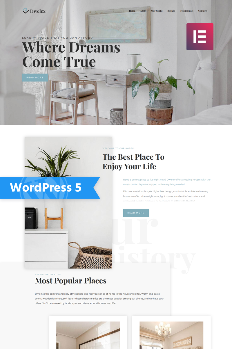 Responsivt Dwelex - Real Estate One Page Modern Elementor WordPress-tema #76877