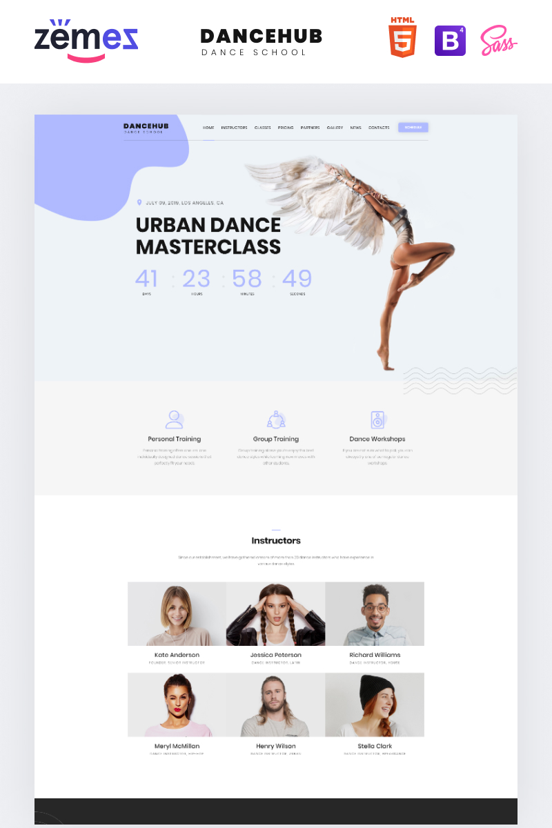 Responsywny szablon Landing Page Dancehub - Dance Studio One Page Classic HTML #76896