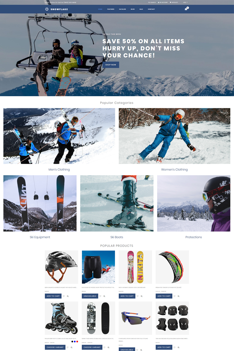 """Snowflake - Skiing Online Shop Clean"" 响应式Shopify模板 #76831 - 截图"