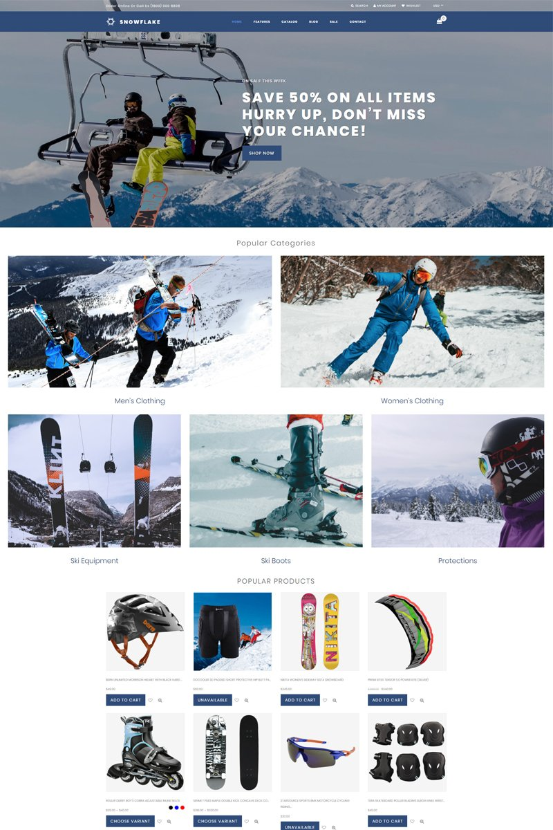 """Snowflake - Skiing Online Shop Clean"" 响应式Shopify模板 #76831"