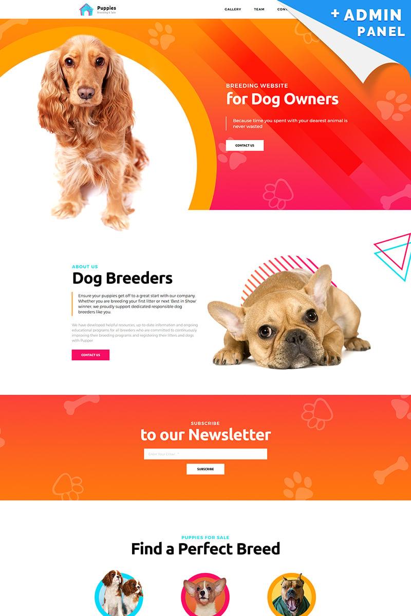"Tema di Landing Page Responsive #76821 ""Puppies - Dog Breeder"""