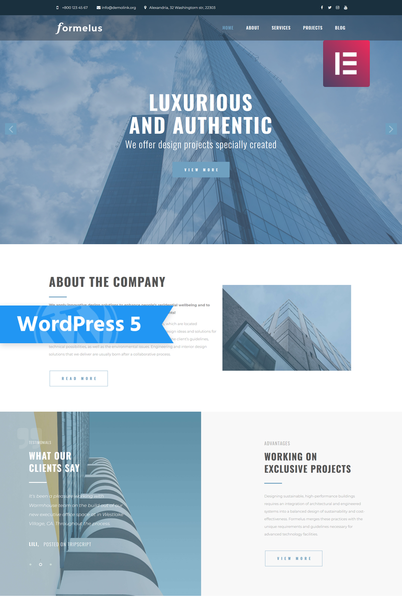 Formelus - Architecture Multipurpose Modern Elementor WordPress Theme