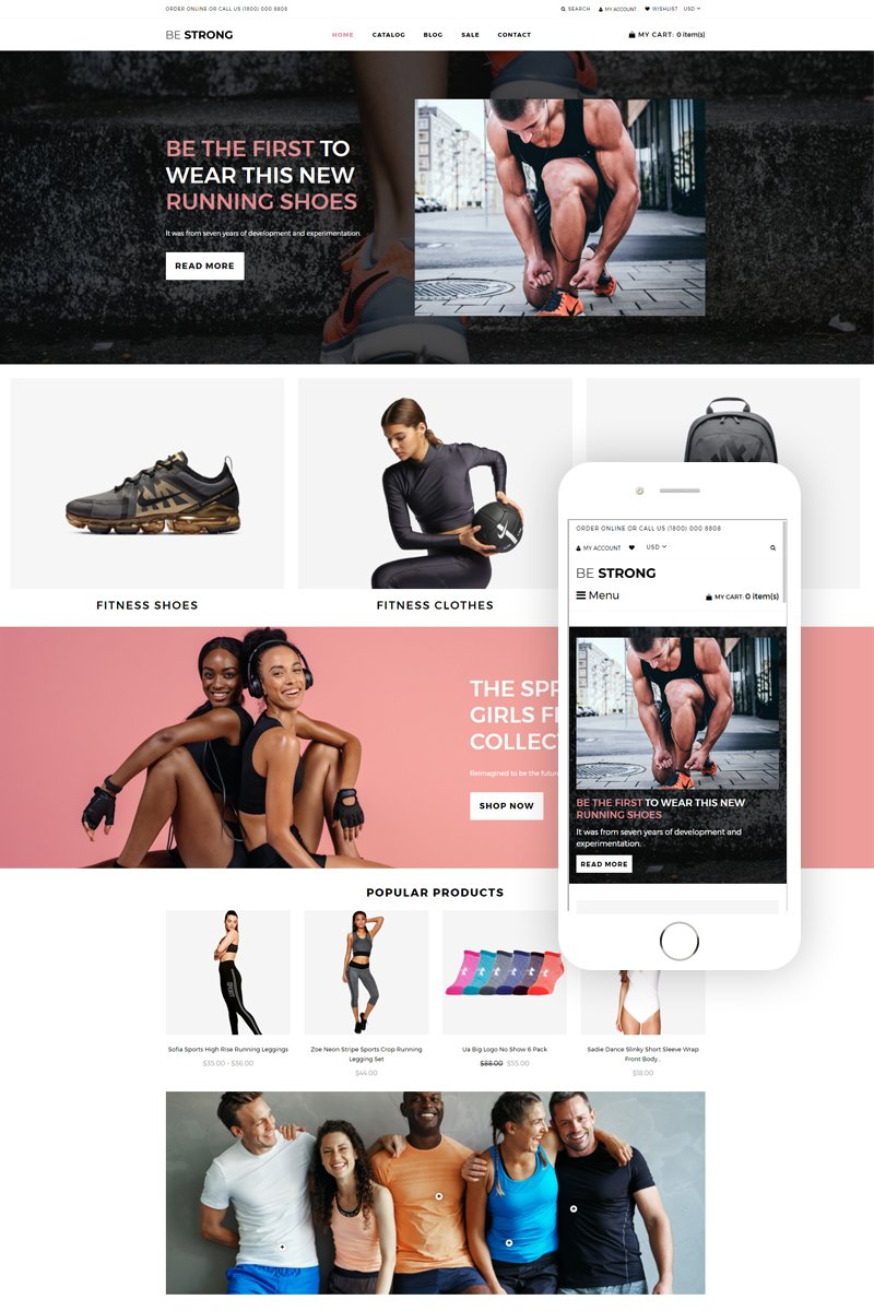Be Strong - Sports, Outdoors & Travel Clean Tema de Shopify №76947