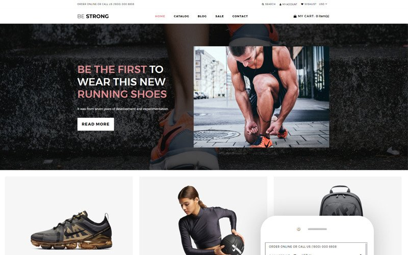 Be Strong - Sports, Outdoors & Travel Clean Shopify Theme