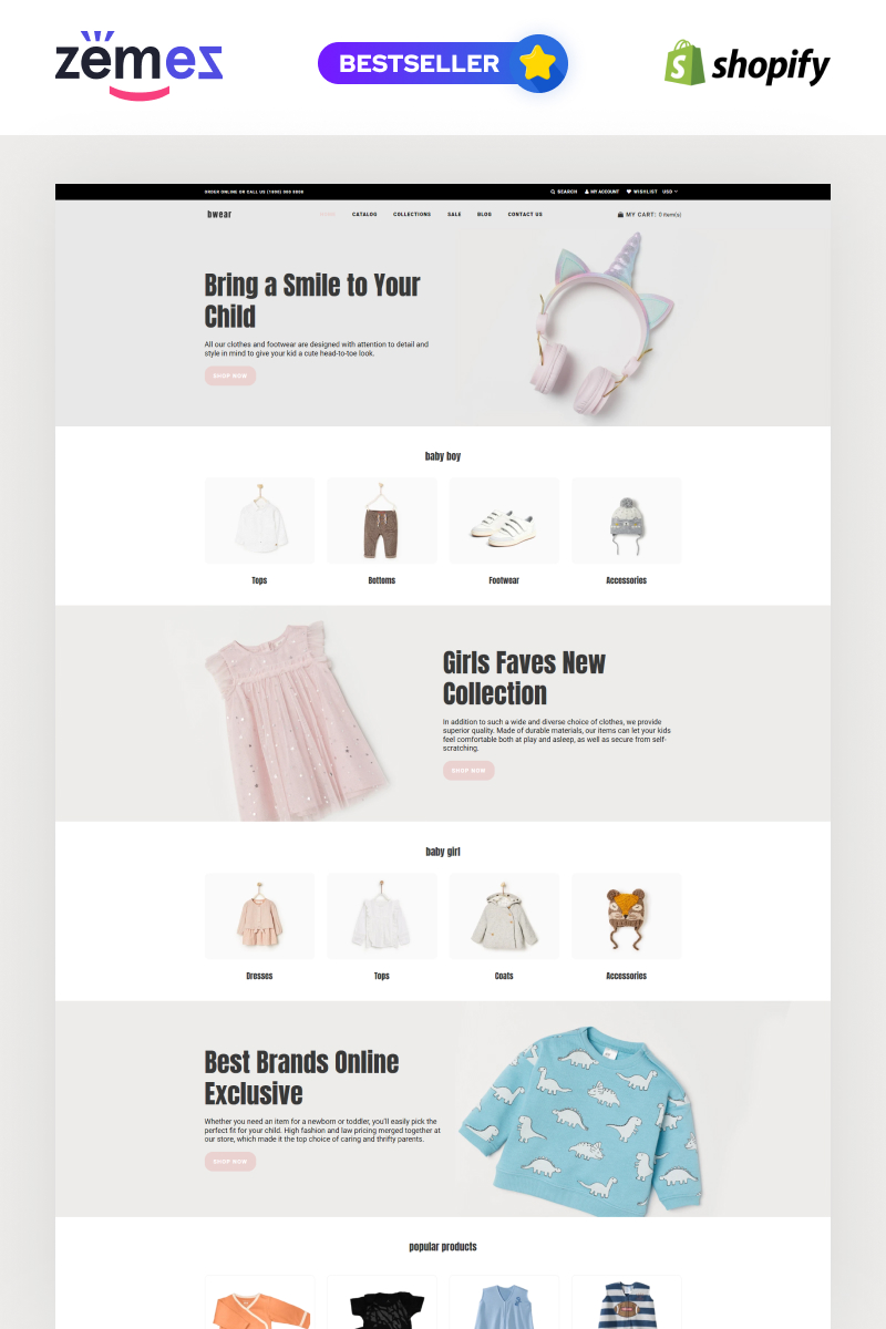 """""""Bwear - Baby Clothing Store Modern"""" Responsive Shopify Thema №76913"""