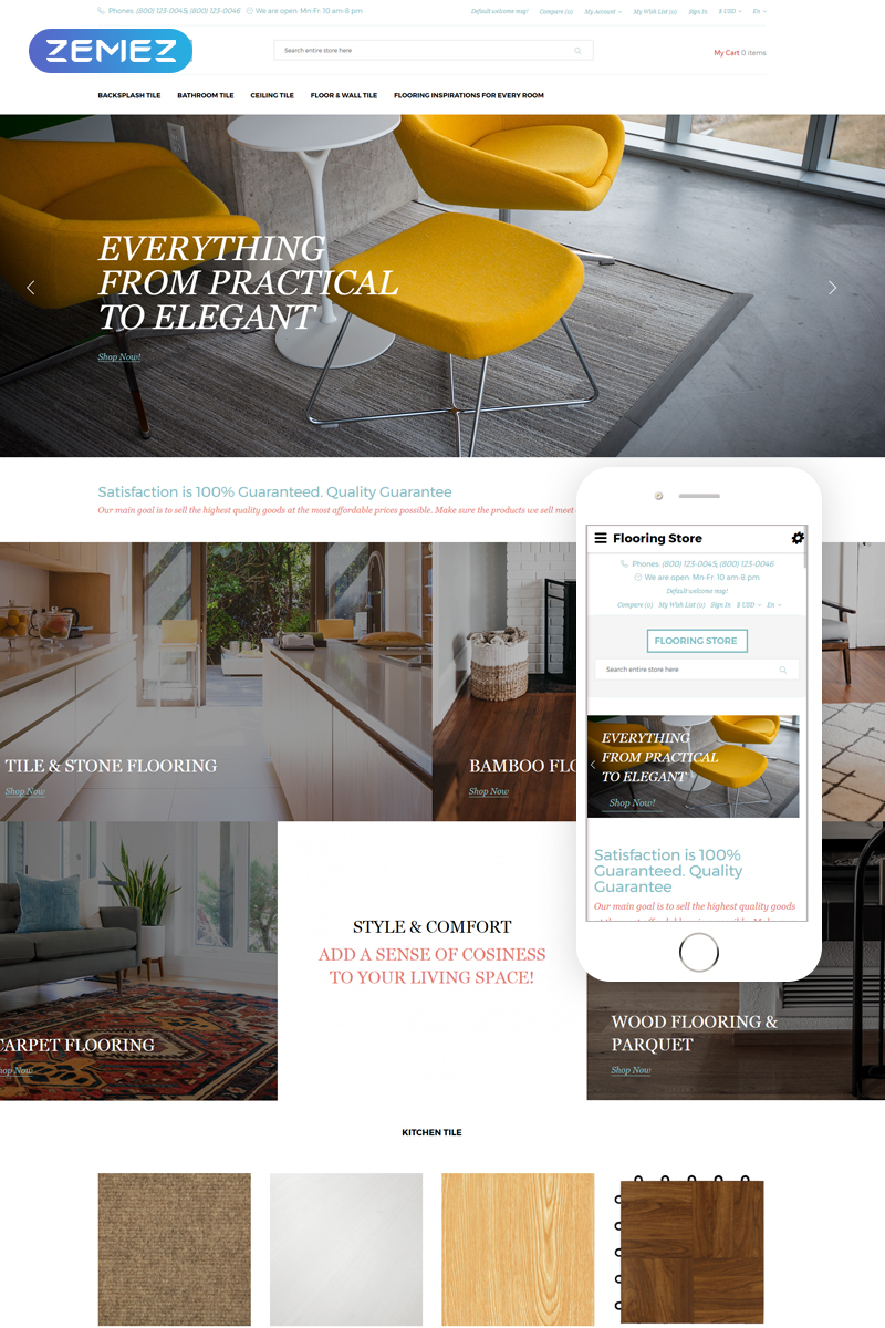 """Flooring store - Flooring Clean Ready-to-use"" - адаптивний OpenCart шаблон №76965"