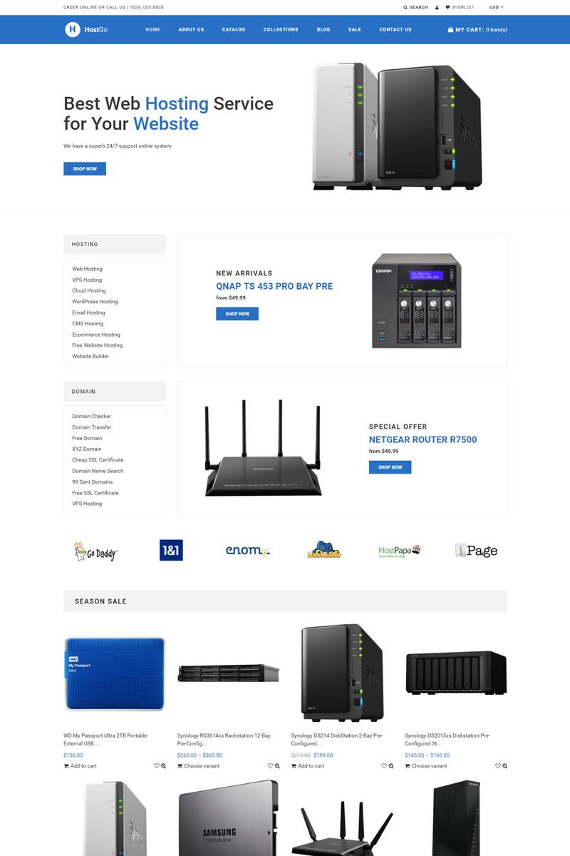 """HostGo - Electronics & Gadgets Clean"" 响应式Shopify模板 #76976"