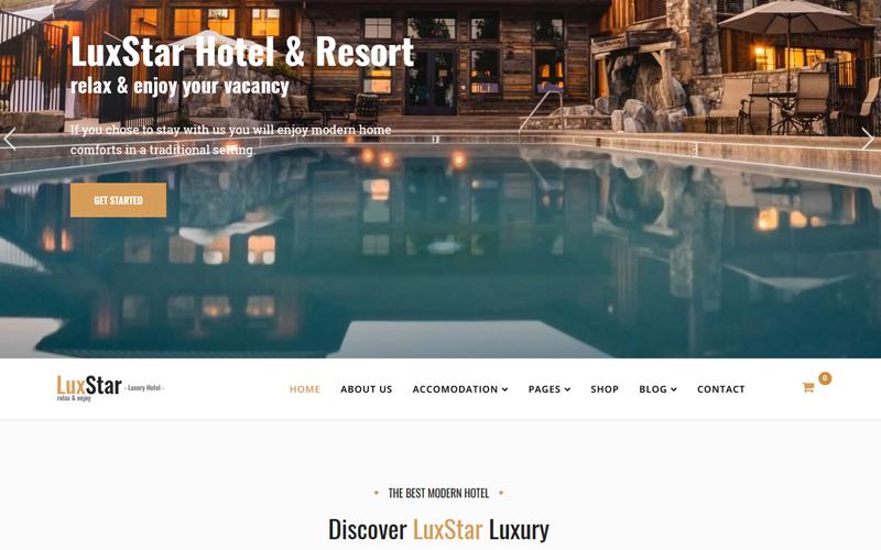 """LuxStar Hotel & Resort Booking"" - адаптивний Joomla шаблон №76985"