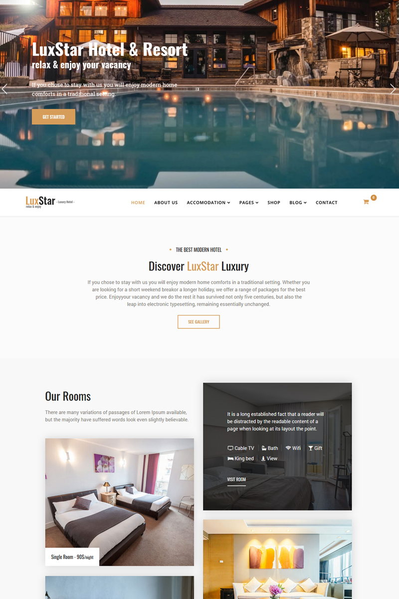 "Modello Joomla Responsive #76985 ""LuxStar Hotel & Resort Booking with Page Builder & Booking form"""