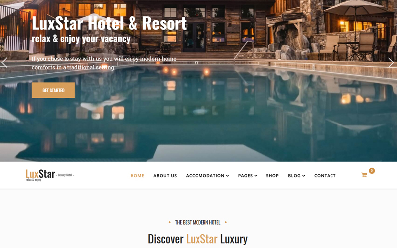 "Plantilla Joomla ""LuxStar Hotel & Resort Booking"" #76985"