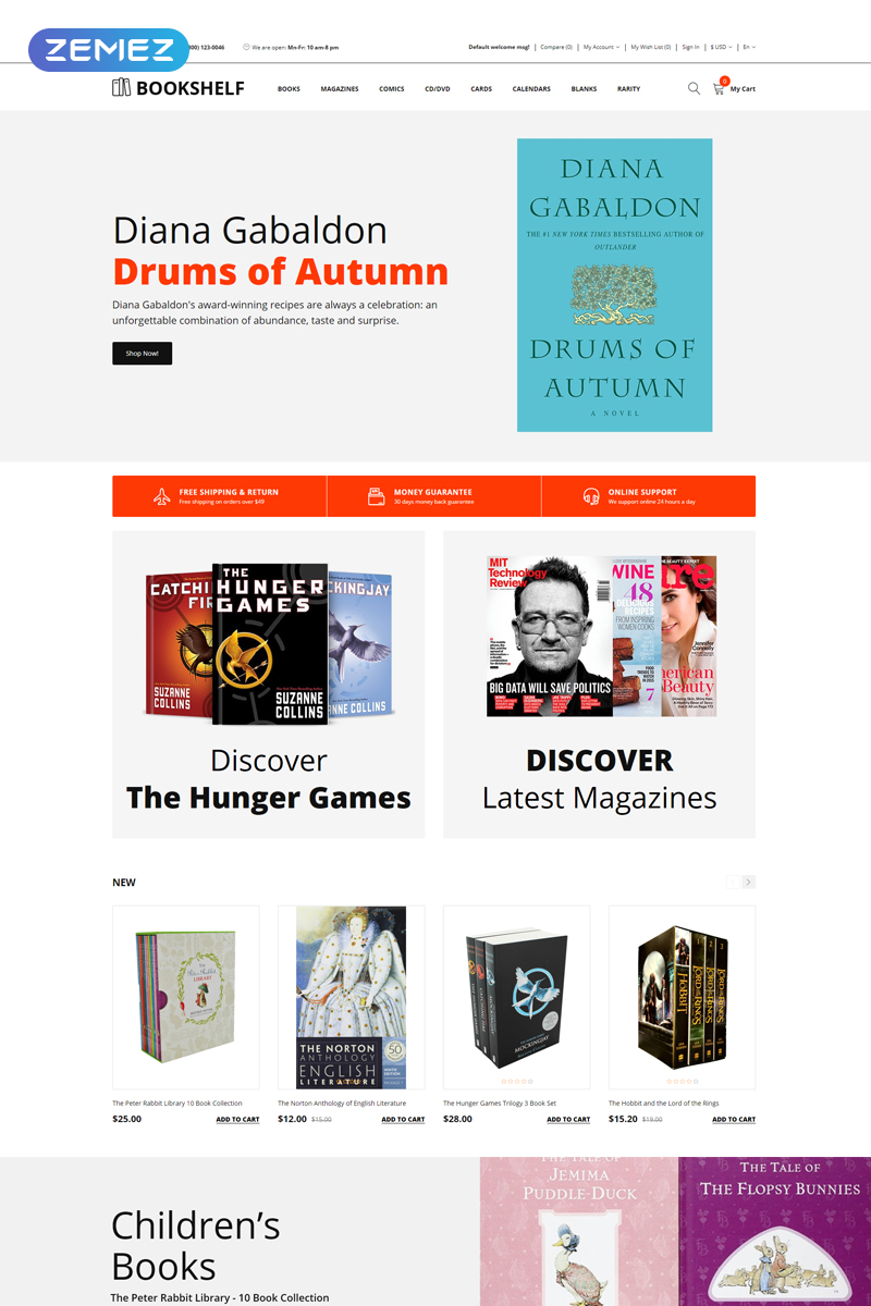 "Plantilla OpenCart ""Bookshelf - Books Clean"" #76966 - captura de pantalla"