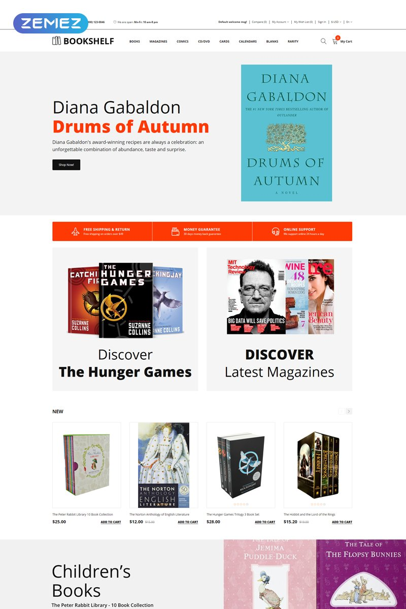 Responsive Bookshelf - Books Clean Opencart #76966 - Ekran resmi