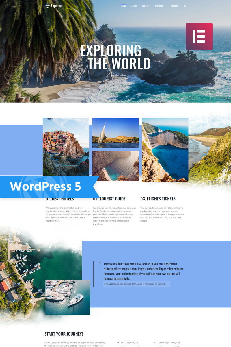 Responsive Expanor - Travel Agency Multipurpose Modern Elementor Wordpress #76956