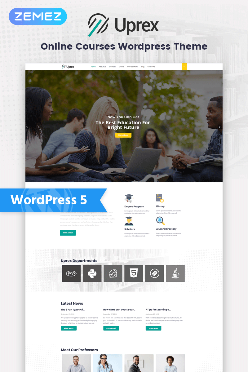Responsive Uprex - Education Multipurpose Modern Elementor Wordpress #76929