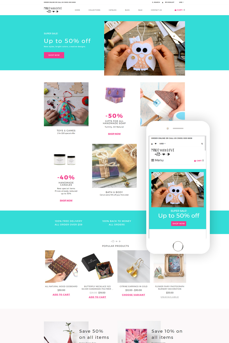 "Shopify Theme namens ""Made with Love - Hobbies & Crafts Creative"" #76939"