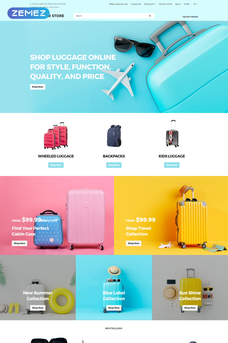 Tourister store - Travel Store Ready-to-use Clean OpenCart Template