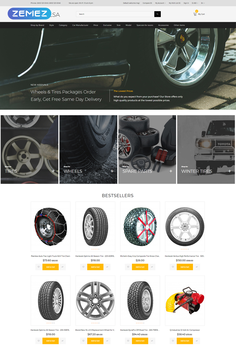 Wheelsa - Cars & Motorcycles Ready-to-Use Clean OpenCart Template