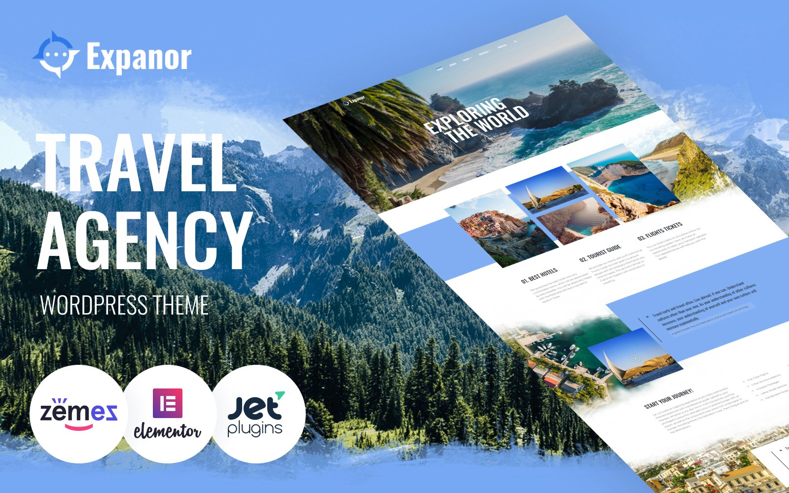 "WordPress Theme namens ""Expanor - Travel Agency Multipurpose Modern Elementor"" #76956"