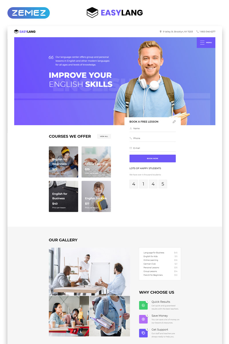 Easylang - Language School One Page Classic HTML Landing Page Template - screenshot