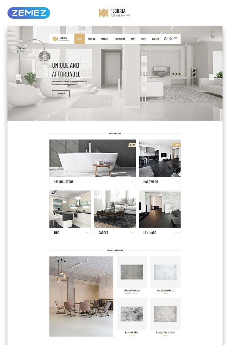 """Flooria - Flooring One Page Clean HTML"" 响应式着陆页模板 #77087"