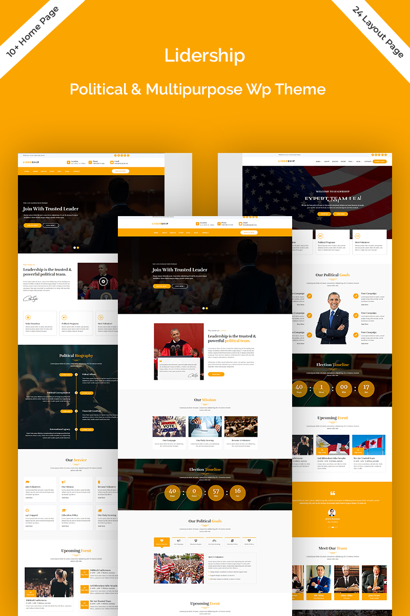 """Lidership Political & Multipurpose"" 响应式WordPress模板 #77034"