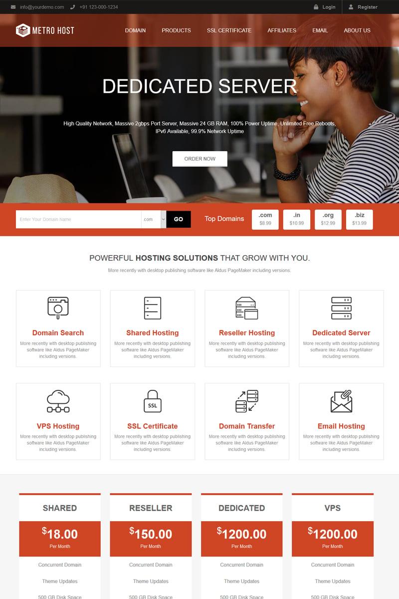 Metro Host Website Template