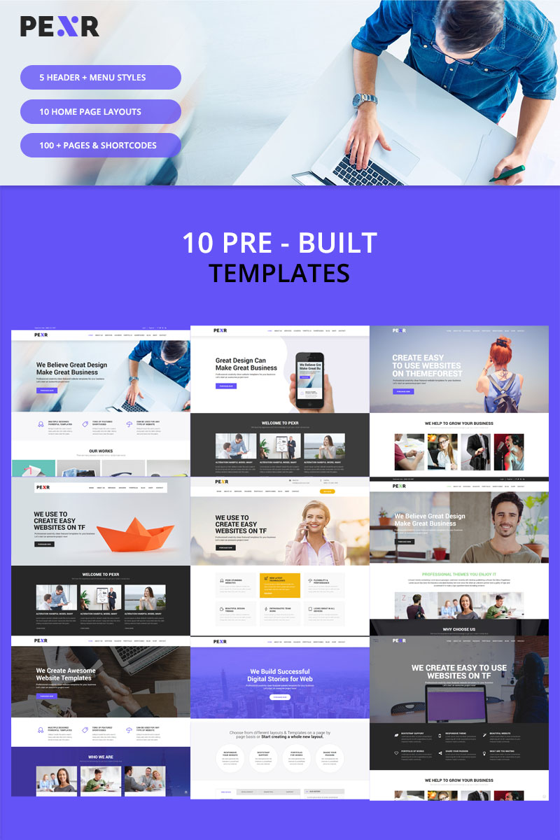Pexr - Responsive Multipurpose HTML5 Website Template - screenshot