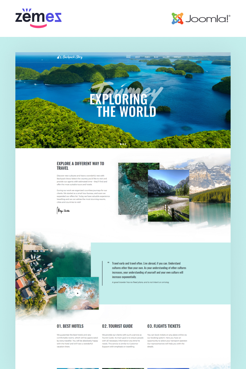 "Plantilla Joomla ""Backpack Story - Travel Agency Multipage Modern"" #77055"