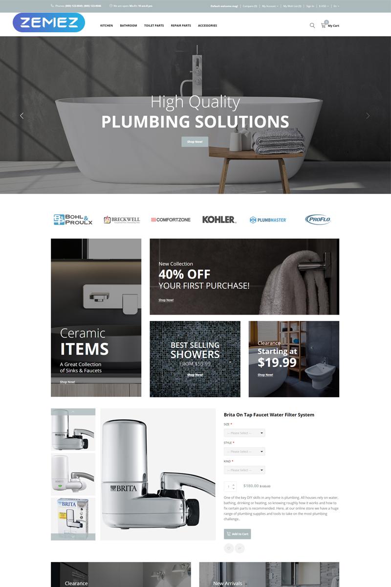 """Plumbix - Plumbing Functional Clean"" Responsive OpenCart Template №77074"