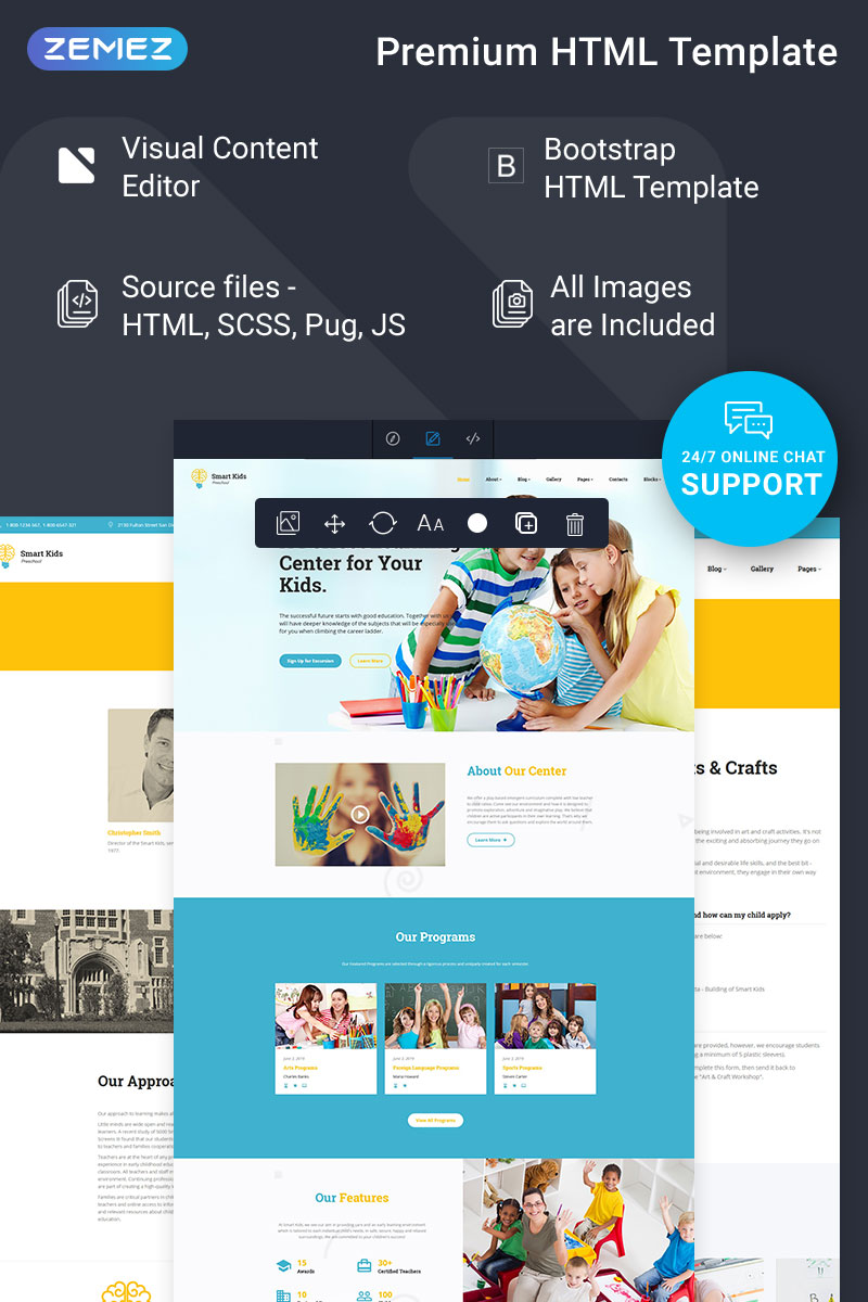 Smart Kids - Kids Center Ready-to-Use Creative HTML Template Web №77086