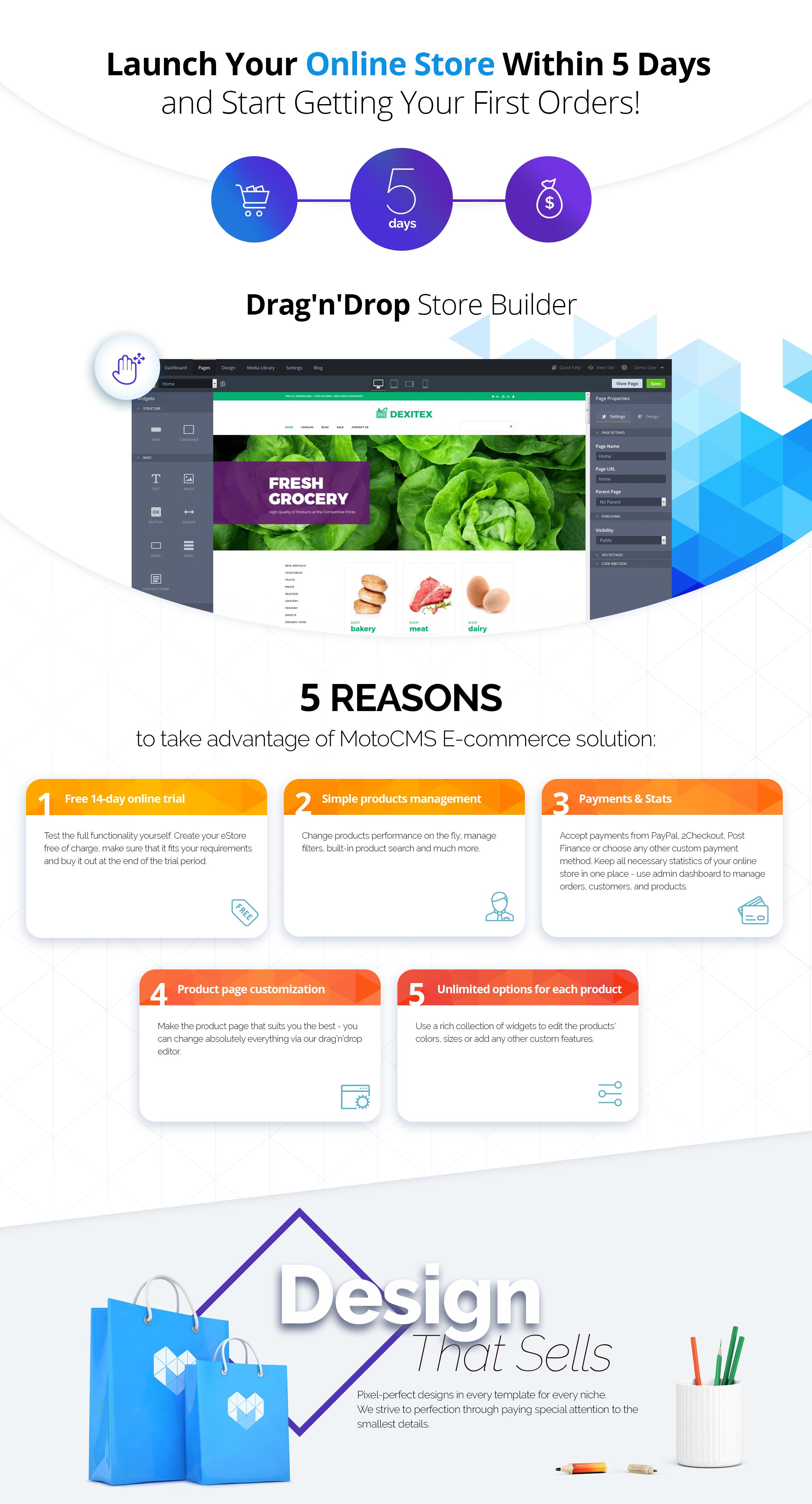 Dexitex - Convenient Grocery Online Shop MotoCMS Ecommerce Template