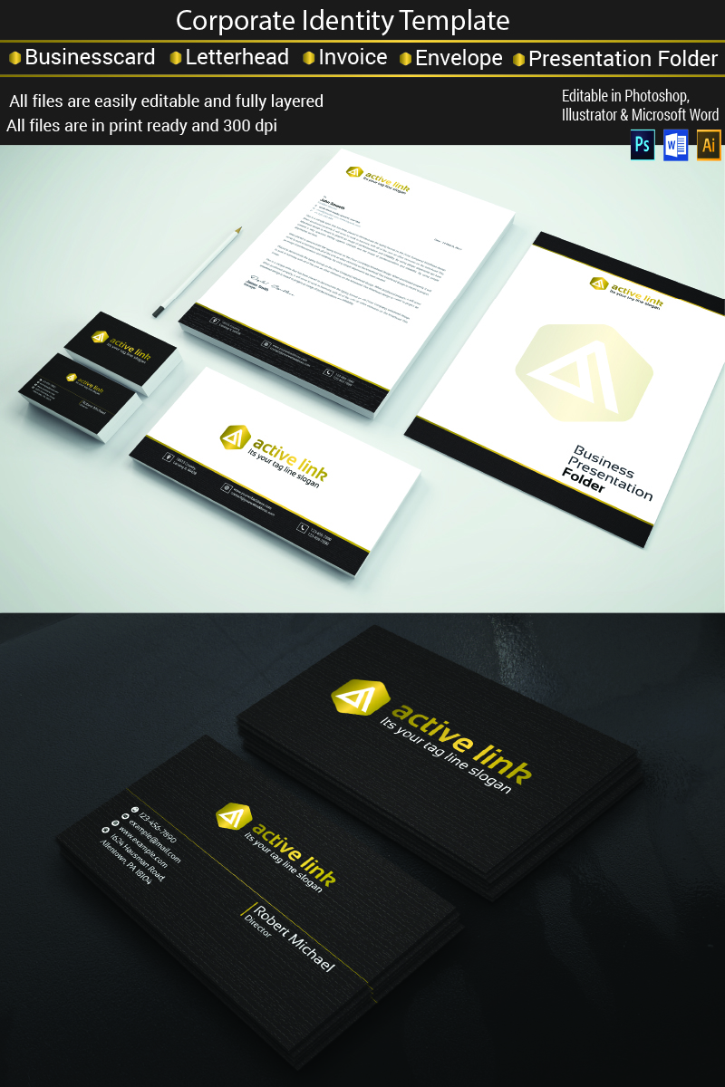 Black and Golden Stationary Template de Identidade Corporativa №77119