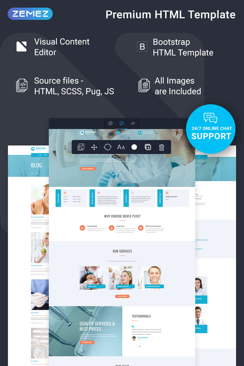 Denta Plus - Dentist Ready-to-Use Clean HTML Template Web №77199