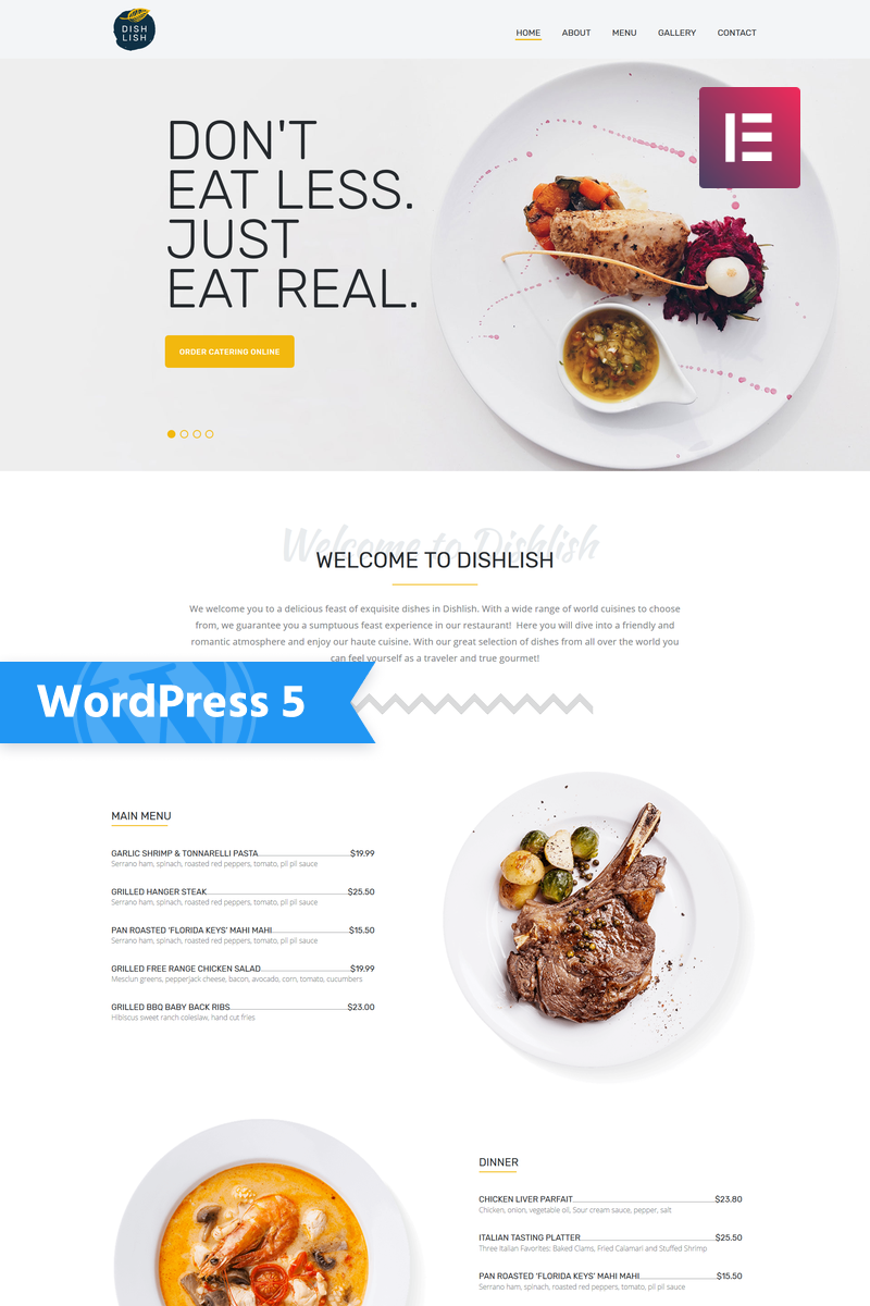 """Dishlish - Restaurant Multipurpose Classic Elementor"" 响应式WordPress模板 #77146"
