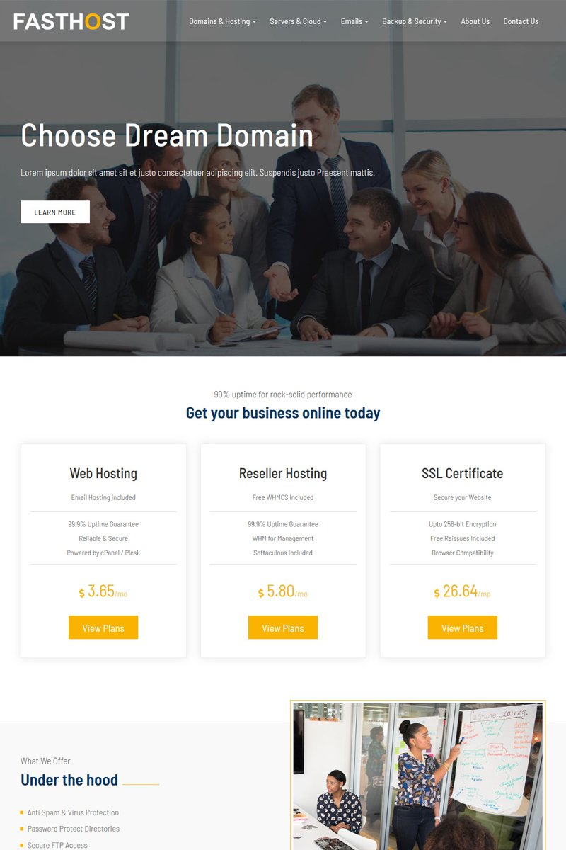 """""""Fasthost - Web and Domain Hosting"""" Website template №77188"""